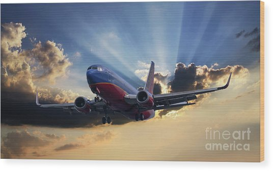 Southwest Dramatic Rays Of Light Wood Print
