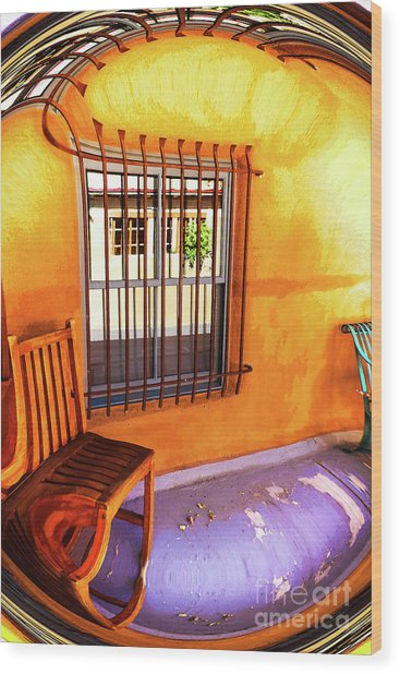 Southwestern Porch Distortion With Puple Floor Wood Print