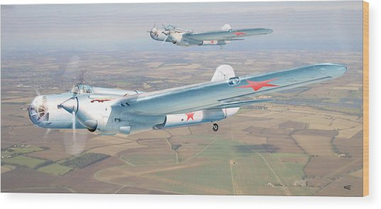 Soviet Bomber Ar-2 Of The Fortieth Years In Formation Flying Wood Print by Alex Arkhipau