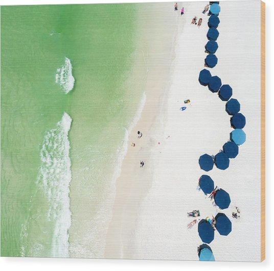 Sowal Beach Umbrellas Aerial Wood Print