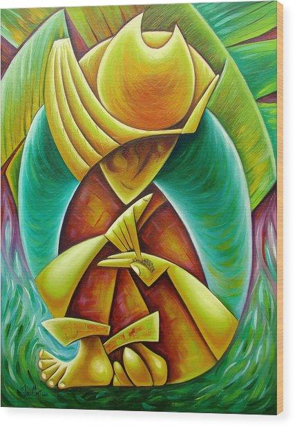 Sower Wood Print by Javier Martinez