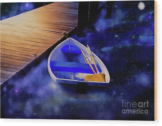 Space Boat Wood Print