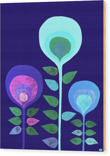 Space Flowers Wood Print