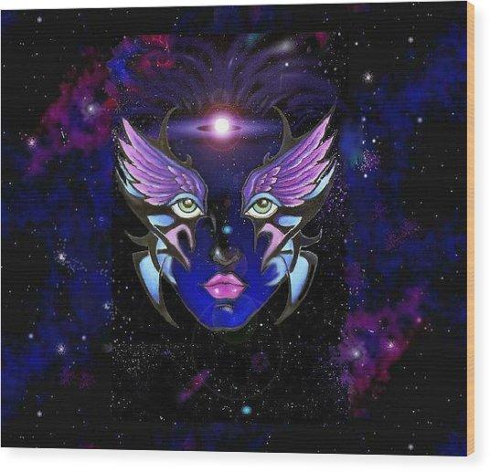 Space Goddess  Wood Print by Carmen Daspit