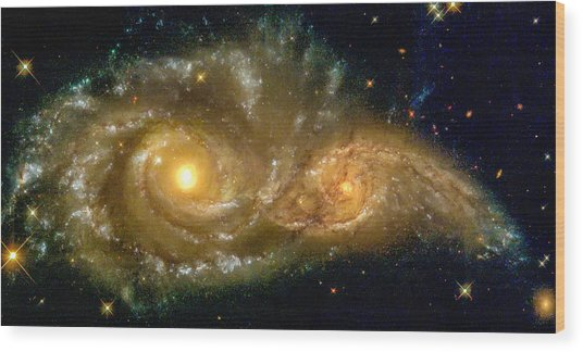 Space Image Spiral Galaxy Encounter Wood Print
