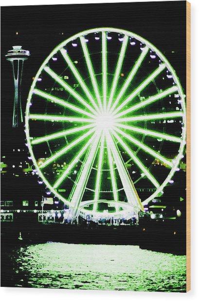 Space Needle Ferris Wheel Wood Print