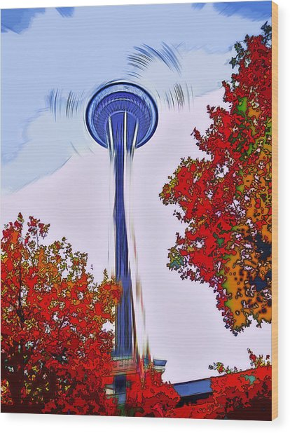 Space Needle Poster Art Wood Print by Steve Ohlsen