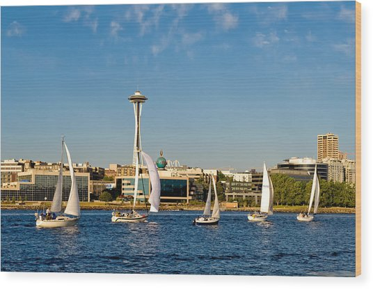 Space Needle Sailboats Wood Print by Tom Dowd