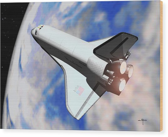 Space Shuttle Discovery Wood Print by Steven Palmer