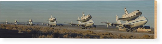 Space Shuttle Endeavour Departs Edwards Afb December 10 2008 Multiple Exposure Wood Print by Brian Lockett
