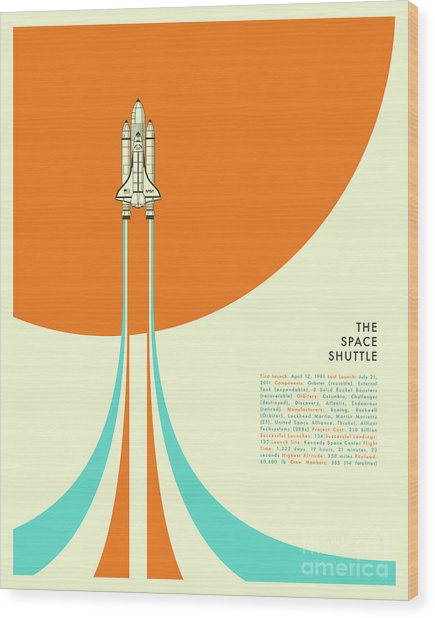 Space Shuttle  Wood Print by Jazzberry Blue