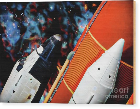 Wood Print featuring the digital art Space Shuttle by Ray Shiu