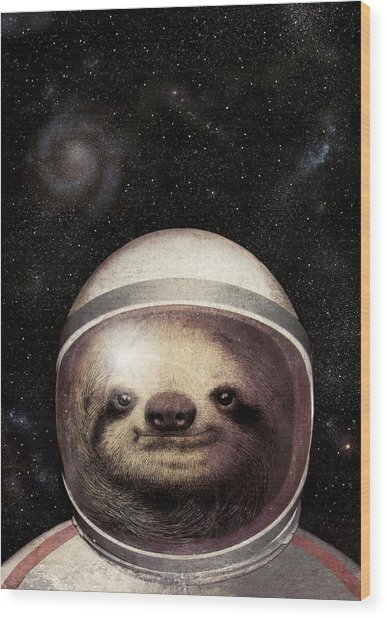 Space Sloth Wood Print