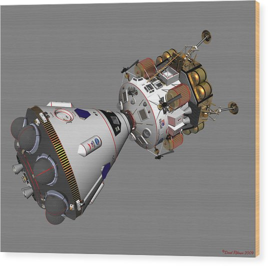Spaceship Columbia And Lander Morningstar Wood Print