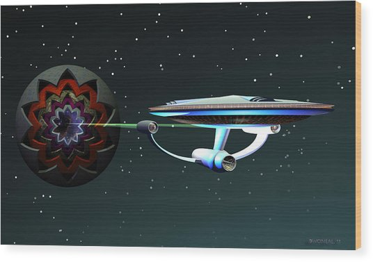 Space...the Final Frontier Wood Print by Walter Oliver Neal