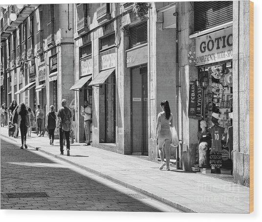 Spain La Rambia Gothic Quarter Bw Street Wood Print