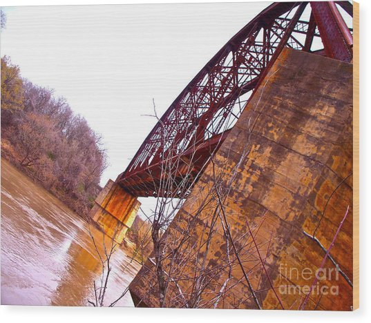 Span The Brazos Wood Print by Chuck Taylor