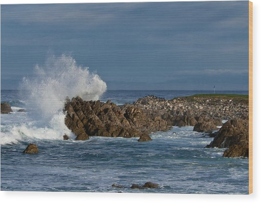 Spanish Bay Golf Ocean Wave Wood Print