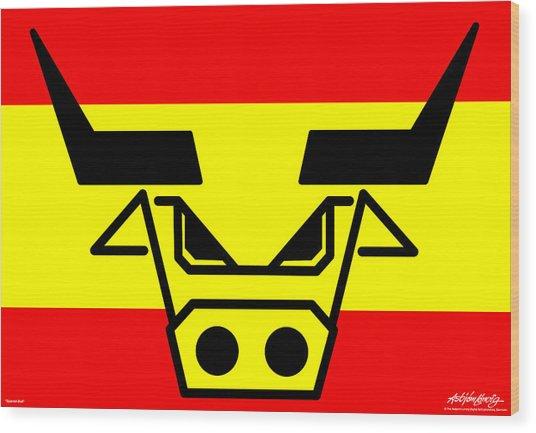 Spanish Bull Wood Print by Asbjorn Lonvig