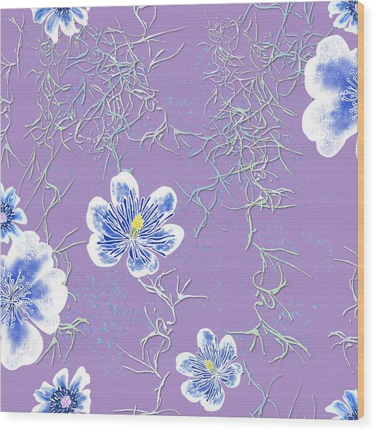 Lavender Spanish Moss Tile Wood Print