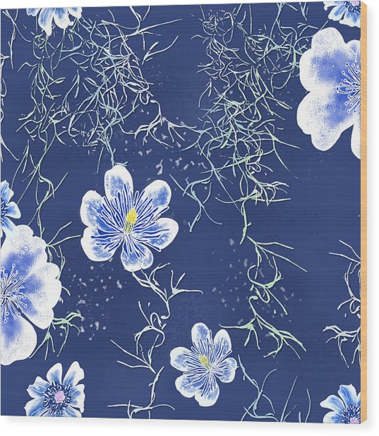 Indigo Batik Tile 4 - Spanish Moss Wood Print