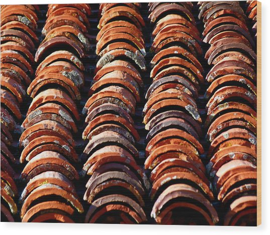 Spanish Roof Tiles Wood Print