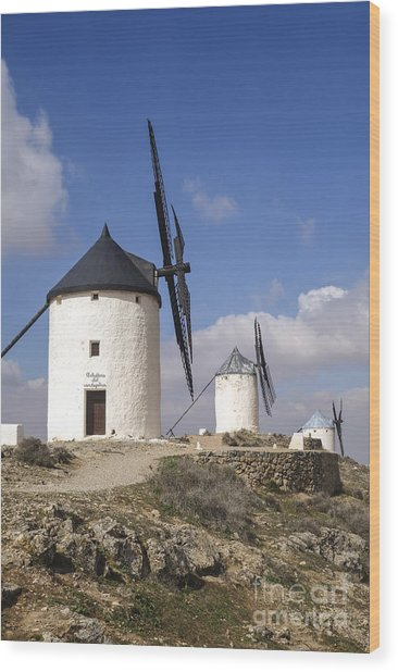 Spanish Windmills In The Province Of Toledo, Wood Print