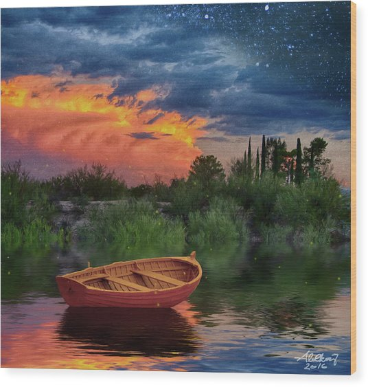 Sparkle Pond Wood Print