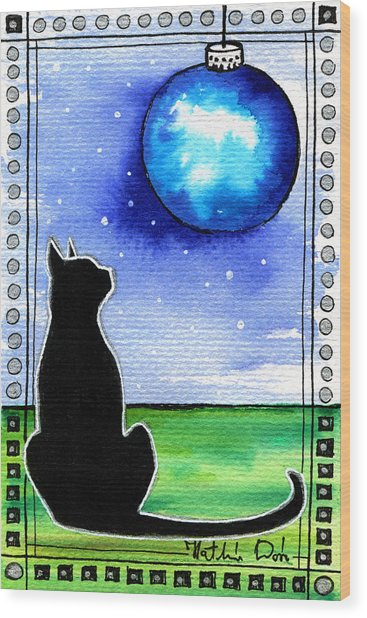 Sparkling Blue Bauble - Christmas Cat Wood Print