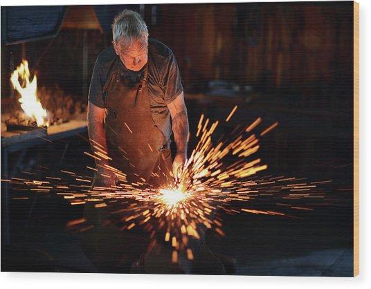 Sparks When Blacksmith Hit Hot Iron Wood Print