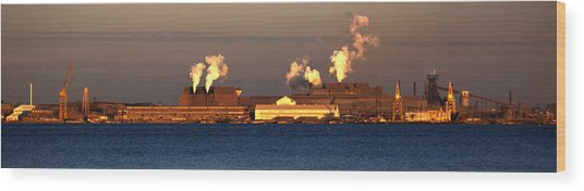 Sparrows Point Steel Mill Maryland  Wood Print by Wayne Higgs