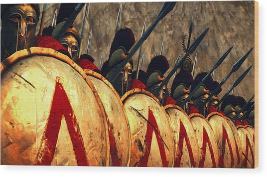 Spartan Army - Wall Of Spears Wood Print