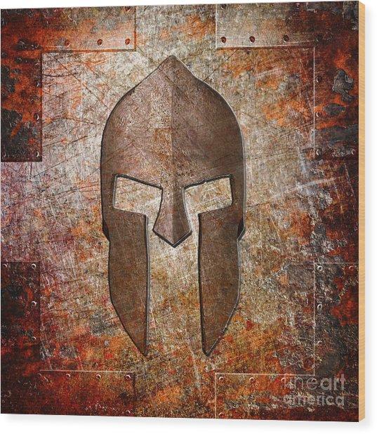 Spartan Helmet On Rusted Riveted Metal Sheet Wood Print