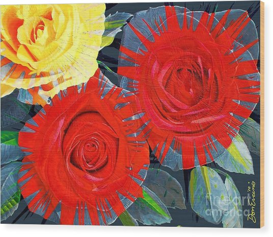 Spattered Colors On Roses Wood Print by Don Evans