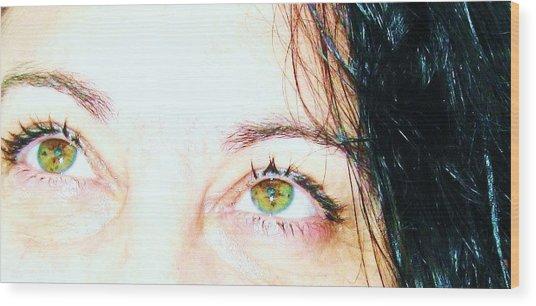 Speckled Eyes Wood Print by Maria Scarfone