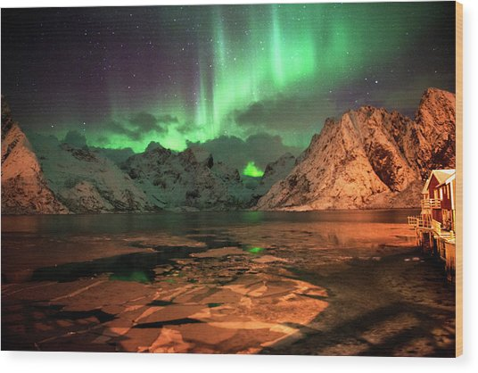 Spectacular Night In Lofoten 1 Wood Print
