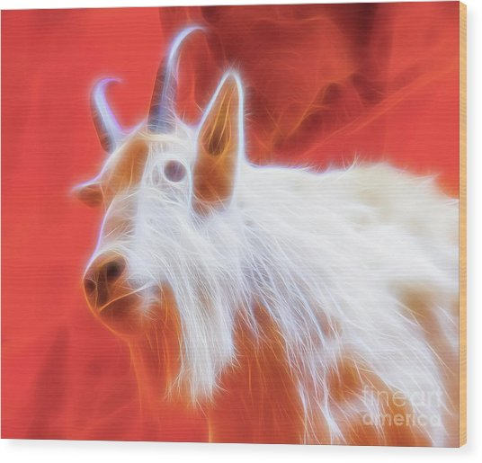 Wood Print featuring the digital art Spectral Mountain Goat by Ray Shiu