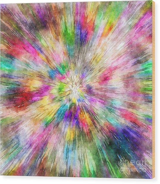 Spectral Tie Dye Starburst Wood Print
