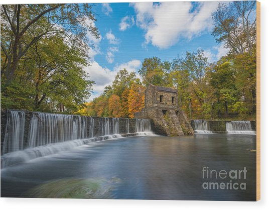 Speedwell Dam Fall Foliage Wood Print