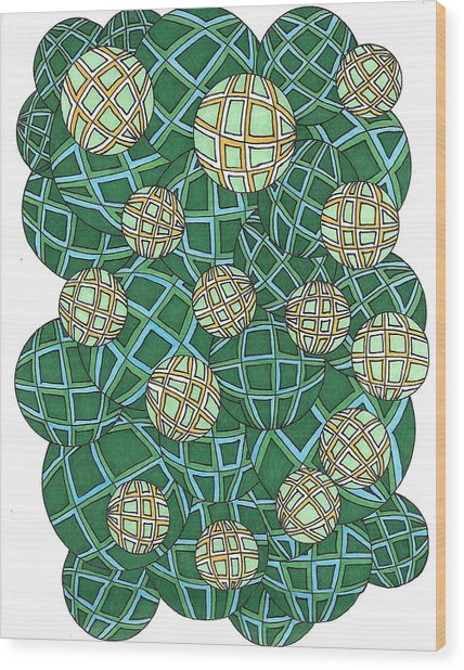 Spheres Cluster Green Wood Print