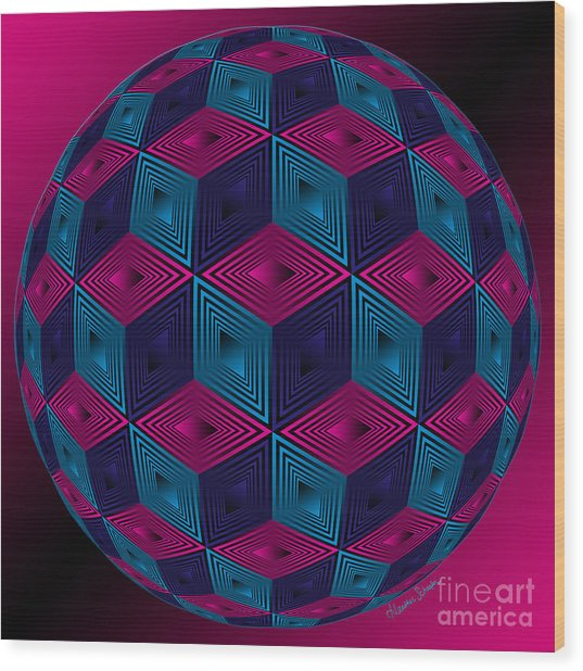 Spherized Pink Purple Blue And Black Hexa Wood Print