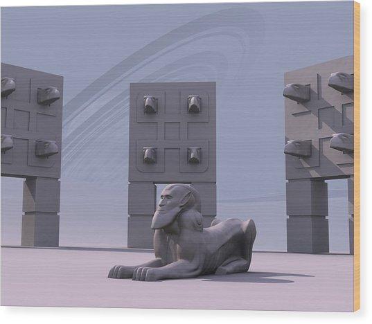 Sphinx Wood Print by Mariusz Loszakiewicz