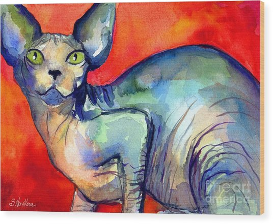 Sphynx Cat 6 Painting Wood Print