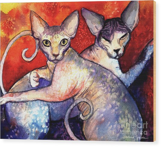 Sphynx Cats Sphinx Family Painting  Wood Print