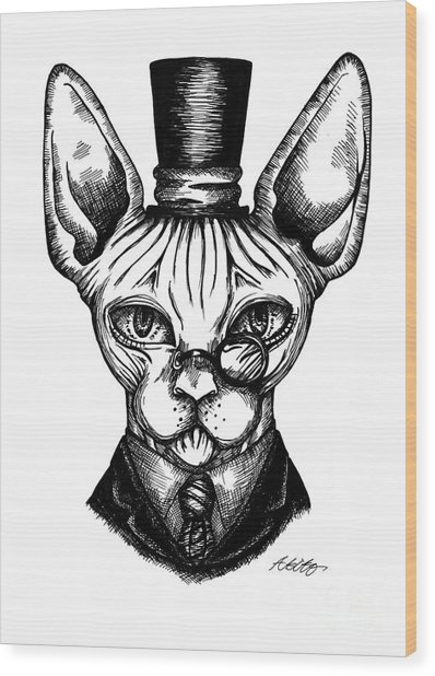 Sphynx Gentleman Wood Print
