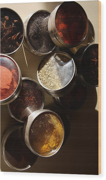Spices Wood Print by Heather S Huston