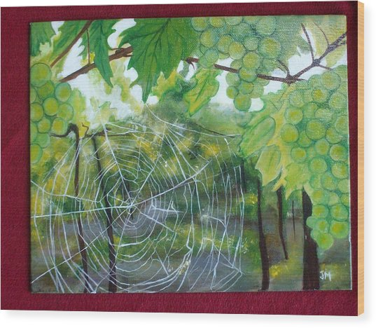 Spider Web In Spring Wood Print by Jessica Meredith