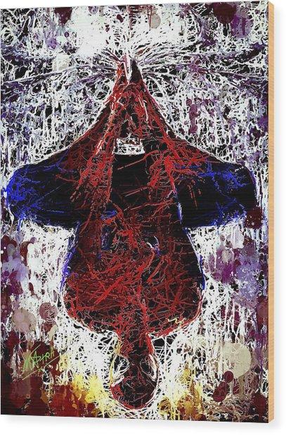 Spiderman Hanging Around Wood Print