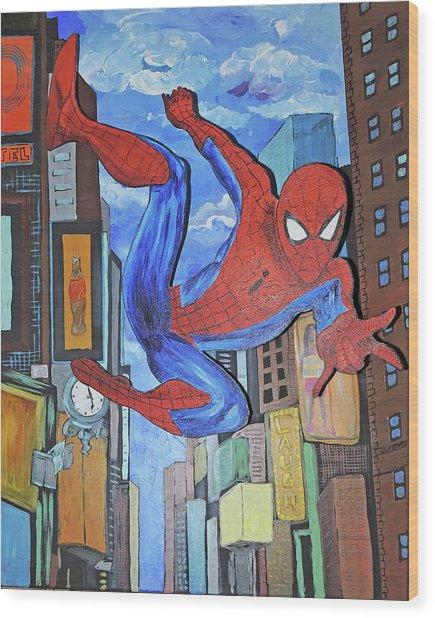 Spiderman Swings Wood Print