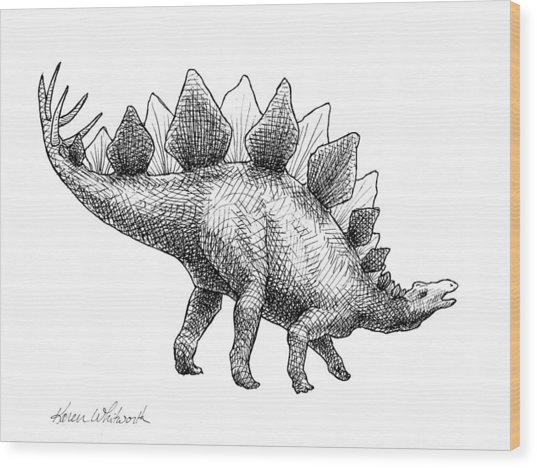 Stegosaurus - Dinosaur Decor - Black And White Dino Drawing Wood Print